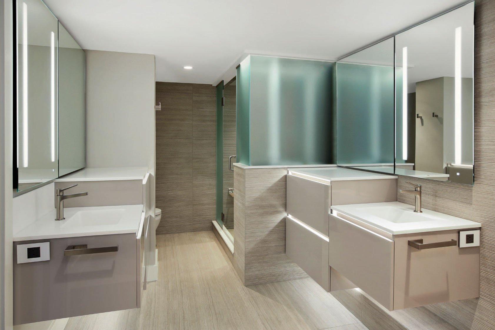 Remodeled bathroom by Mark Design.