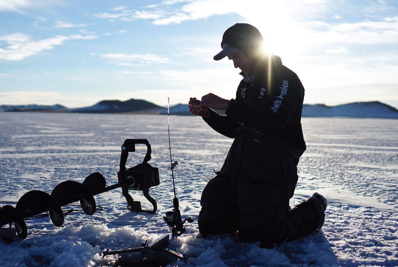 Robby Robertson setting up gear on Antero Reservoir.