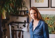 Theresa in her art studio
