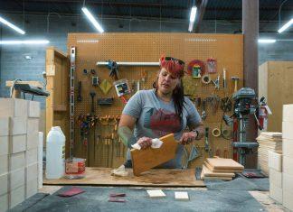 Wood worker at Mile High Workshop