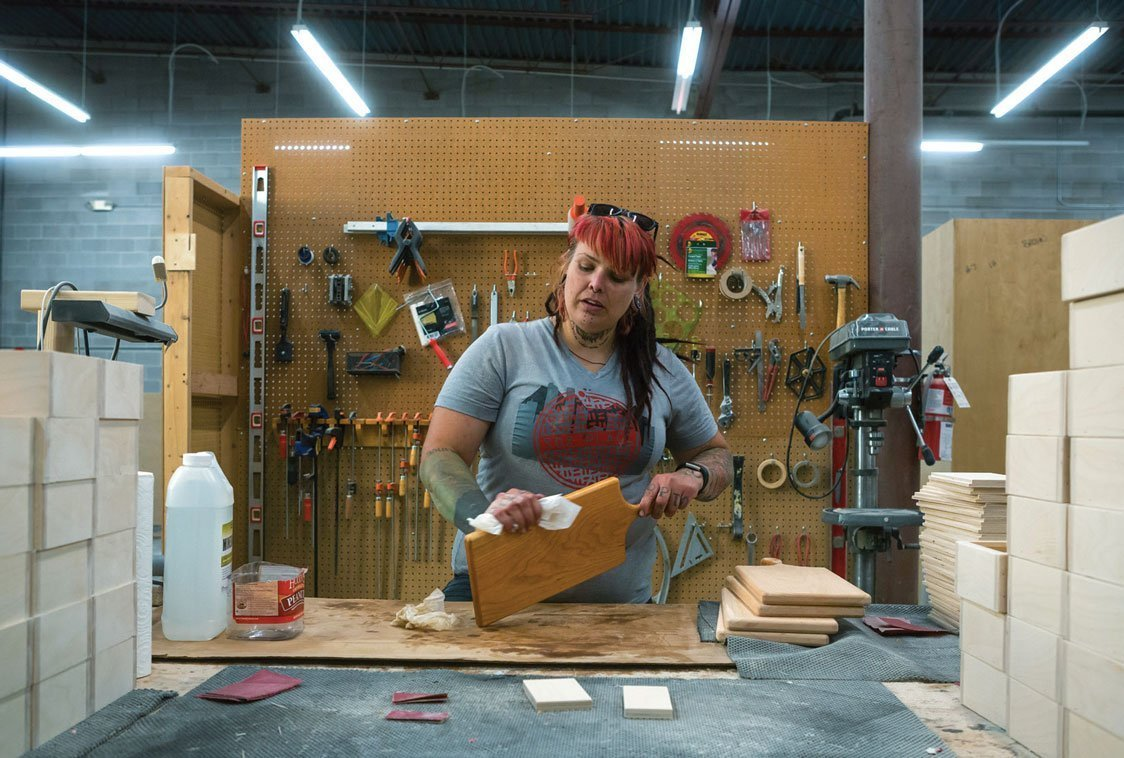 Woodworker at Mile High Workshop
