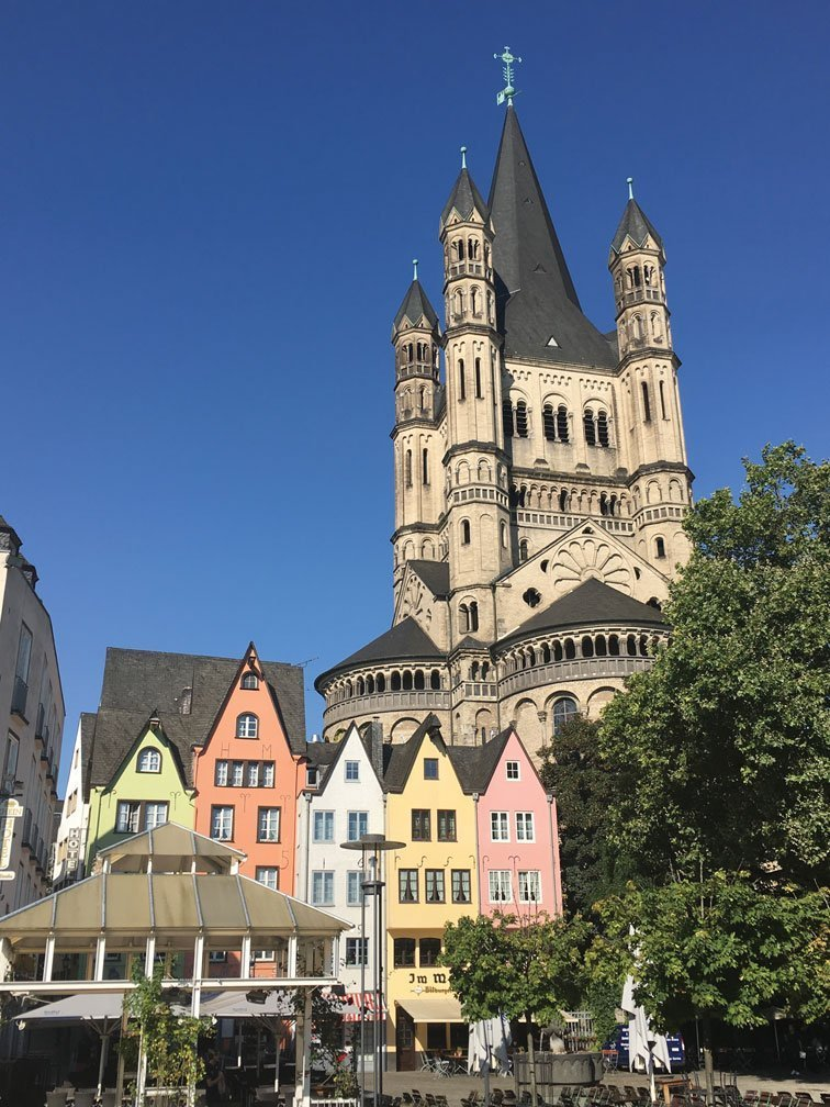 Colorful architecture in Cologne, Germany.