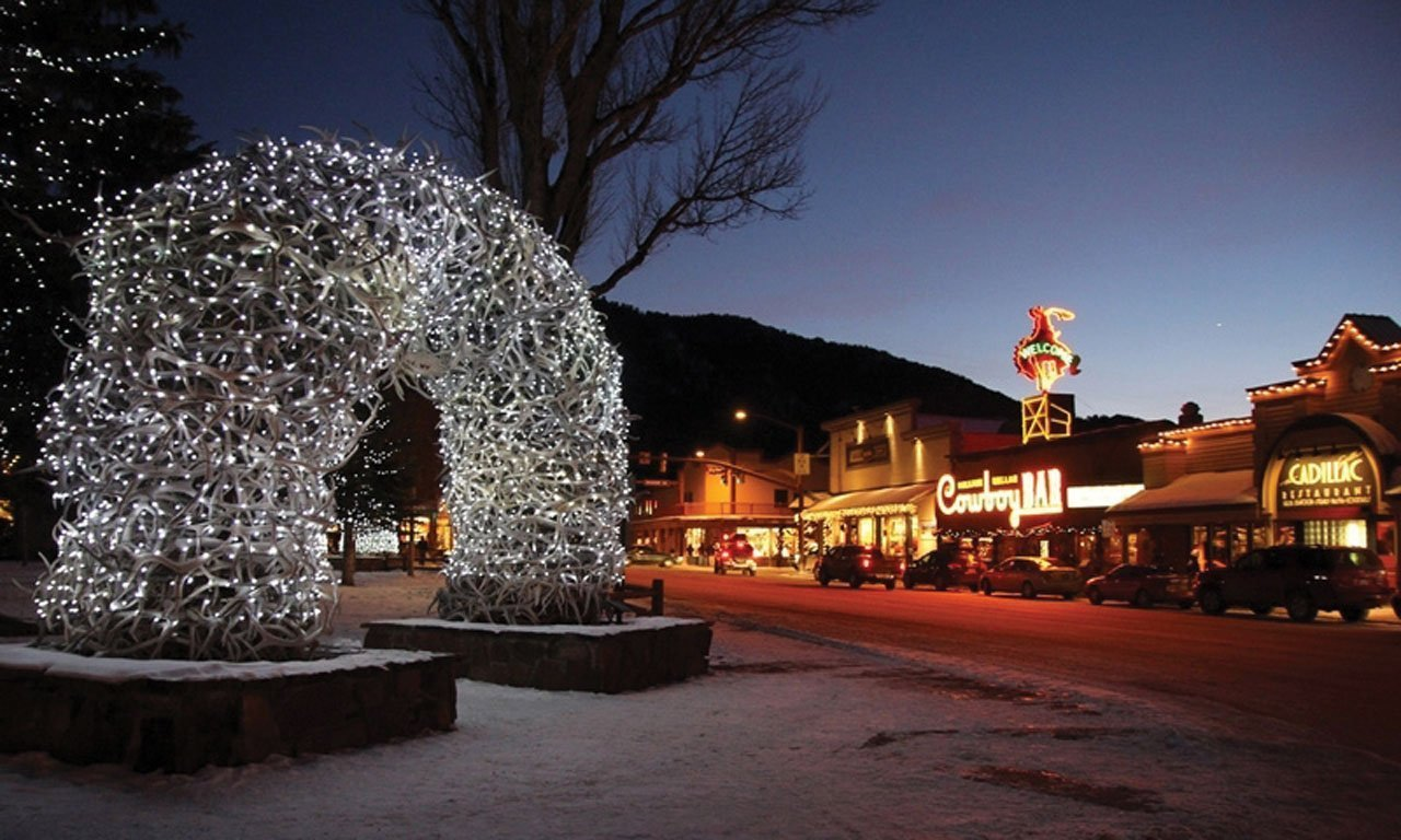 The town of Jackson Hole at twilight.