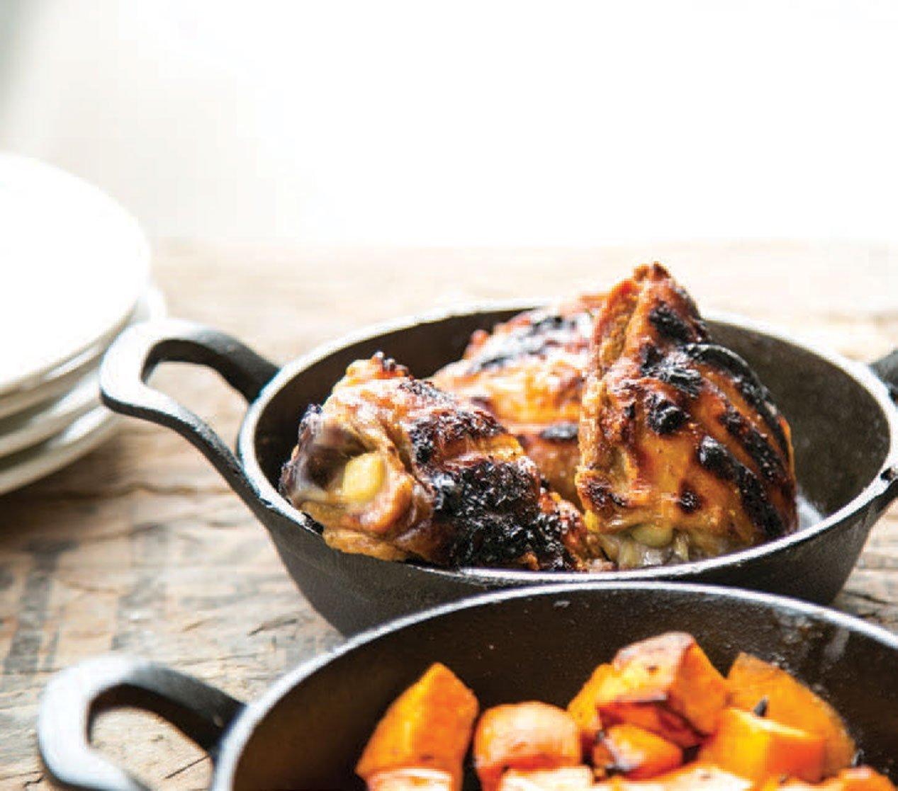 Chicken in a pot.