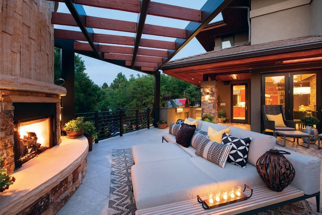 backyard with fireplace