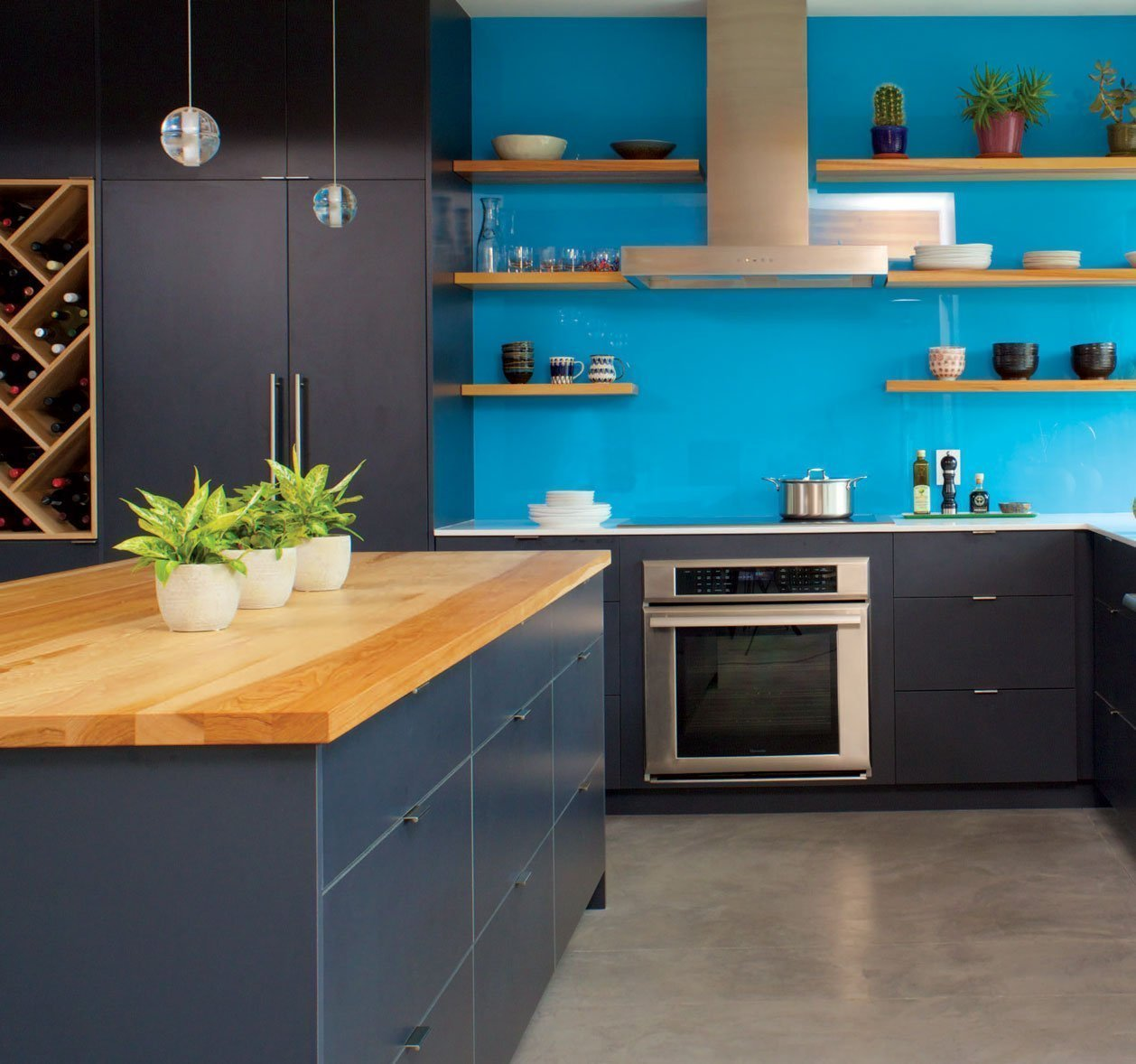 Blue and Black kitchen