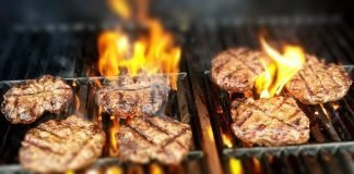 image of burgers on grill