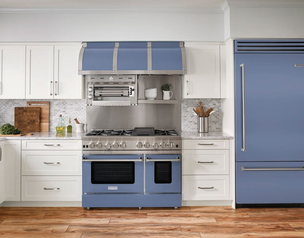 Complete BlueStar kitchen in Pigeon Blue